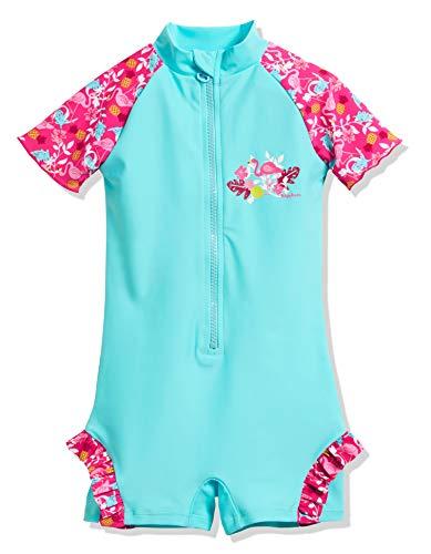 Playshoes Mädchen UV-Schutz Einteiler Flamingo Badeanzug, Türkis (Türkis 15), 74 (Herstellergröße: 74/80)