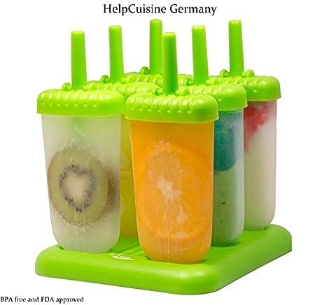 HelpCuisine Ice pop mold / Moule à glace, Moule Esquimaux realisé en plastique de qualité superieur sans BPA et approuvé par la FDA, lot de 6 sorbets avec un support, 24 mois de garantie!