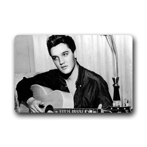 QWNBCDPPZ Rock Singer Elvis Presley Playing The Guitar Machine Washable Door Mats Indoor Outdoor House Doormat 23.6L x 15.7W -