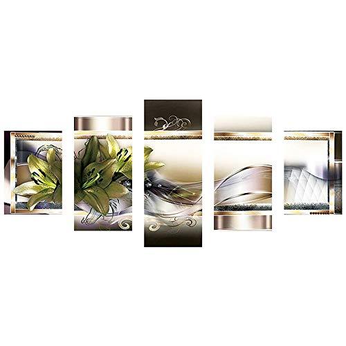 ZHANSANFM DIY 5D Diamant Painting Voll Set Gemälde 5-pictures Kombination Kits handgefertigt Stickerei Naht Geschenk Arts Crafts Dekoration Wohnzimmer Schlafzimmer Blume Bild Muster -
