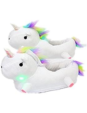 BomKin LED Einhorn Plüsch Leuchtend Hausschuhe Winter Pantoffeln Kostüm Cartoon Unicorn Hause Schuhe für Erwachsene...