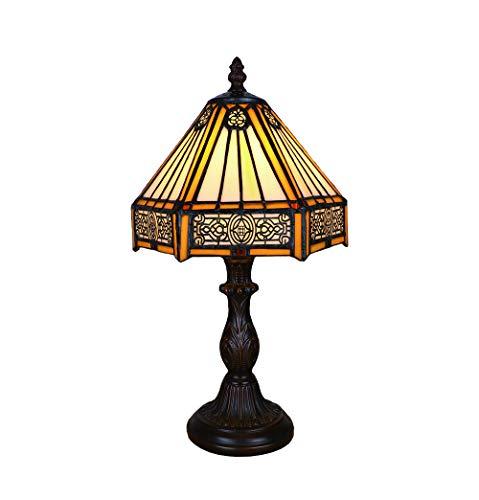 Lampe de Table Tiffany Brown 8 Pouces, Rétro Vitrail Abat-jour, Lampe Pour le Salon Chambre Style Simple, Par FBOSS