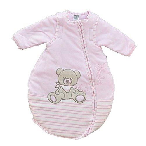 Jacky Mädchen Baby Ganzjahres Schlafsack Langarm, 100% Baumwolle, Rosa/Ringelstreifen, Gr. 50/56, 350013