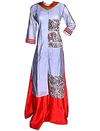 Gayathri Fashions - Gharga Long Embroidered Top And Long Skirt Along With Chiffon Dupatta ..Party Wear