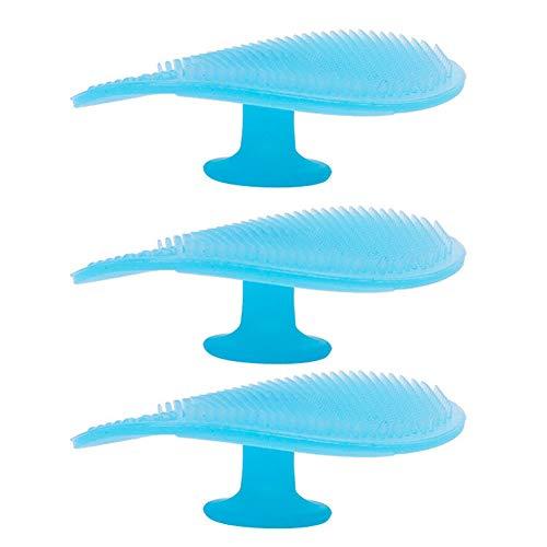TrifyCore Silikon-Gesicht Wäscher Baby-Bad-Silikon Milchschorf Bürste Gesichtsreinigung Pinsel Reinigung Pad Weiche Massagebürste für Baby Blue 3Pcs -