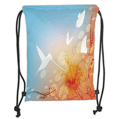 LULUZXOA Gym Bag Printed Drawstring Sack Backpacks Bags,Hummingbirds Decorations,Hummingbird and Butterflies Silhouettes Flowers Fun Summertime Garden, Soft Satin,The -