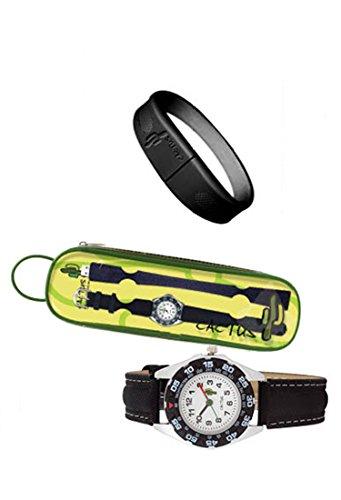 Cactus Kinder Quarz-Uhr mit weißem Zifferblatt Analog-Anzeige und schwarz Kunststoff oder PU Gurt cac-57-m01 - 2