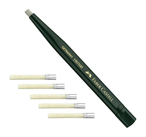 Faber-Castell–girevole penna con vetro gomma, colore fusto: Verde, + 5 Ersatzminen