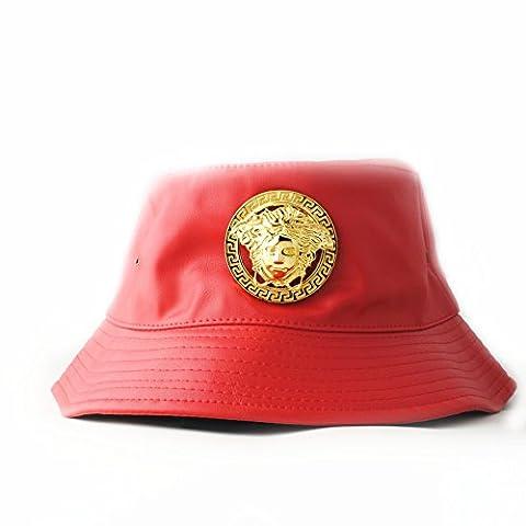 Bonnets Femme, Mode féminine Hat Automne et hiver Haute-qualité Synthétique Cuir Chapeau Décoration en métal (Rouge)