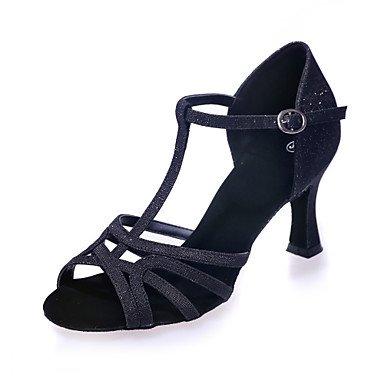 XIAMUO Nicht anpassbar - Die Frauen tanzen Schuhe funkelnden Glitter funkelnden Glitter Latein Sandalen abgefackelt HeelPractice/Professional/Innen-/ Blau