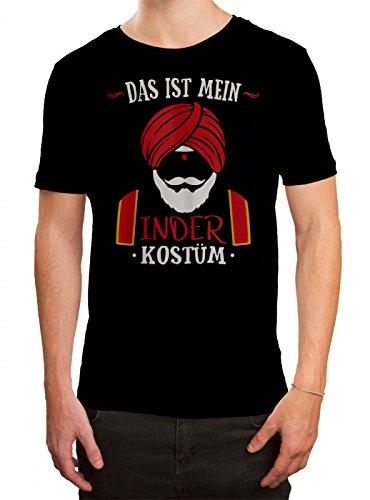 (Kostüm Inder Premium T-Shirt | Verkleidung | Karneval | Fasching | Herren | Shirt, Farbe:Schwarz (Deep Black L190);Größe:L)