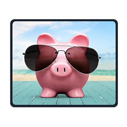 Unique Pink Pig and Sunglasses Office Rectangle Non-Slip Rubber Mouse Pad Cool Gaming Mouse Pad for Laptop Displays Tablet Keyboard