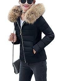 YMING Femme Manteau Hiver Jacket Court Veste à Capuche Fourrure Chaud Doudoune Blouson Parka Veston Hoodie