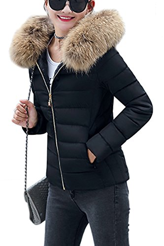 YMING Damen Übergangsjacke Warm Gefüttert Kurz Winter Jacke Steppjacke Winter Parka mit Kunstpelz Kragen,Schwarz-C,XS