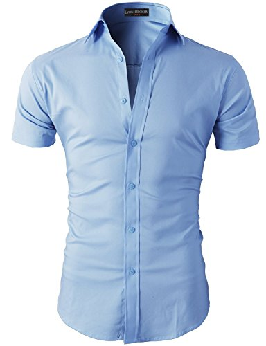 Lyon Becker Mens Short Sleeve Casual Shirts Contrast Button Down Slim Fit Shirt