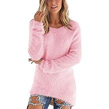 Señoras Suéter Largo De La Camisa De Gran Tamaño De Cuello Redondo Vestido