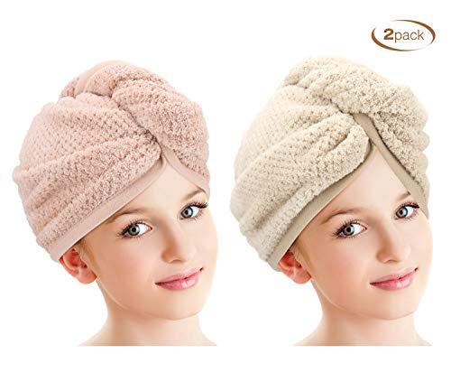 Luxspire 2 Pack Microfiber Hair Drying Towels Wrap Turban, Water-absorbent Fast Drying Hair Cap, Bath Shower Head Towel with Buttons, Dry Hair Hat - Khaki & Sakura Pink Sakura Magic