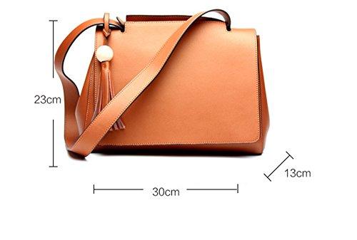 Xinmaoyuan Borse donna in cuoio grande pacchetto di grande capacità borsa tracolla in pelle autunno e inverno con colori solidi Sezione Borsa da donna,rosso Brown