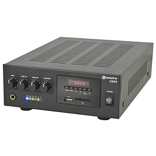 AMP14 – CM-SERIES CM30 30W COMPACT 100V / 8 OHMS LINE MIXER-AMPLIFIERS 2U HOUSING MICROPHONE LINE INPUT USB/SD PLAYER…