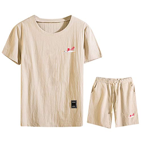 Beikoard Lavalampen Sportwear Sommeranzug Jogginganzug Sportanzug Trainingsanzug Herren Baumwolle Kurzarm Bluse Shorts Set