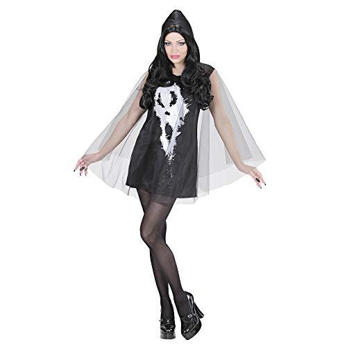 Ghost Kostüm Kapuze - Widmann 02883 - Erwachsenenkostüm Screaming Ghost Lady, Kleid mit Kapuze und Umhang, Größe L