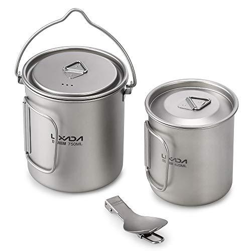 Lixada Titanium Topf Camping Tragbar Titan Wasser Tragbar Becher Tasse Klappgriff(300 ml,350 ml,420ml,550 ml,650 ml,750ml,900ml) (750ML Topf&420ML Tasse&Löffel)