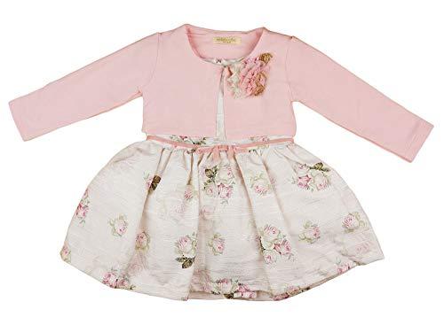 Baby Mädchen Festkleid mit Bolero und abnehmbare Rose in Grösse 92 98 104 110 für 2 3 Jahre elegant in beige und rosa Baumwollmischung als Prinzessinnen -Hochzeits-Kleid Größe 74