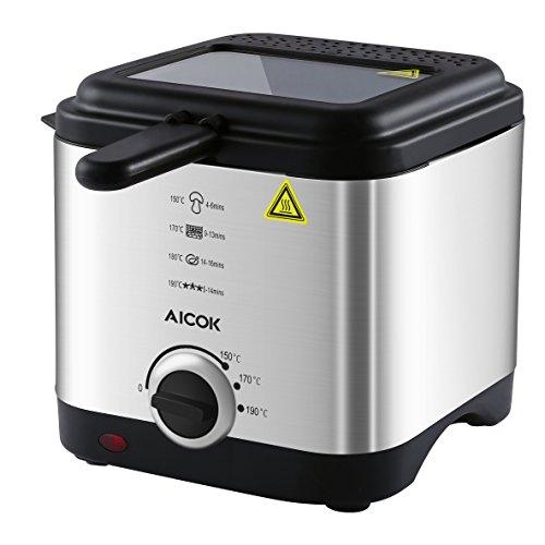 Aicok Freidora Mini con Control de Temperatura, Tapa con ventana de visualización y Cesta de Acero inoxidable, Antisalpicaduras, 1,5 litros, Libre de BPA