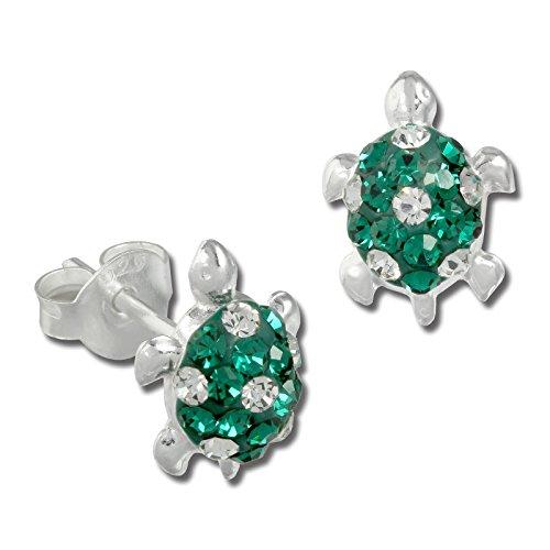 Teenie-Weenie Ohrstecker grün weiß Ohrringe Silber Schildkröte Kinder D1SDO8006G -