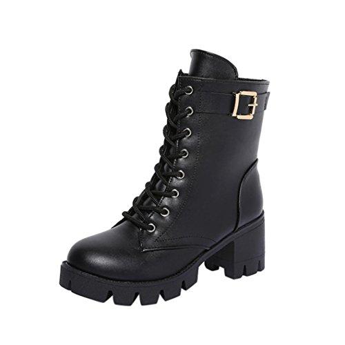 Botines para Mujer Koly 2017 Boots Cuadrado Tacón plataformas Cuero Muslo Bomba Botas Zapatos Hebilla Lace-Up Martín Botas Corto Felpa Tobillo Botas Talones Zapatos Calzado de mujer (38, Negro)