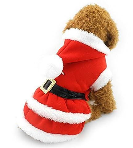 Zunea Petit Chien Vêtements pour l'hiver de Noël Vêtements plissé Robe à capuche Dog Costume Ceinture décoré Rouge