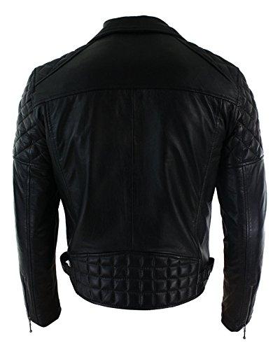 Herrenjacke 100% Echtleder Schwarz Biker Still Retro Design Alle Größen von S-5XL Schwarz