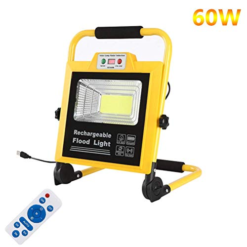 LXDDP LED-tragbare Flut-Beleuchtung im Freien 60W 1065LM, USB-Wieder aufladbare Baustelle-Lichter, Batterie 18000mAh, IP66 imprägniern Arbeits-Lampe für das Werkstatt-Kampieren
