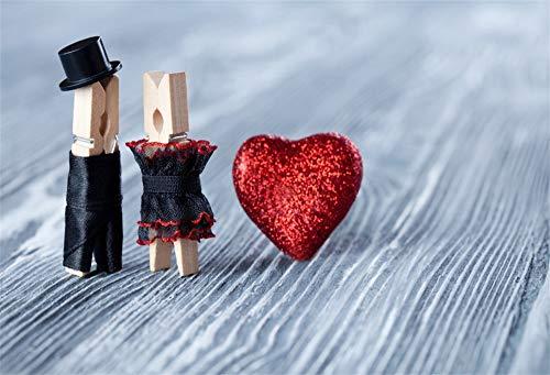 Valentine Fotohintergrund Romantische Hochzeit Kunsthandwerk Rotes Herz Hölzerne Planken Fotoleinwand Hintergrund für Fotostudio Requisiten Party Liebhaber Photo Booth ()