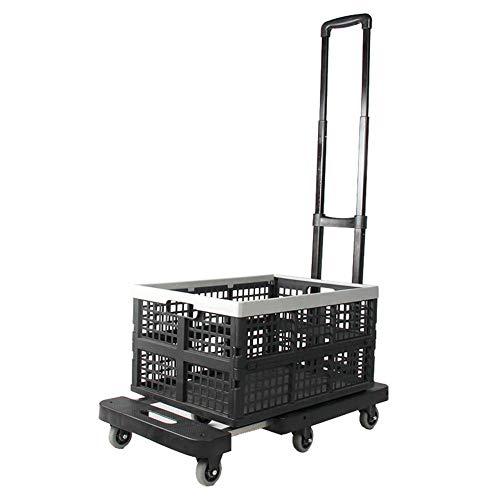 Einkaufswagen Leichte, tragbare Klapprad-Handkarren-Handkarren-Transportwagen mit zusammenklappbarer und Abnehmbarer Schachtel (Größe: Wagen und Kleiner Korb)