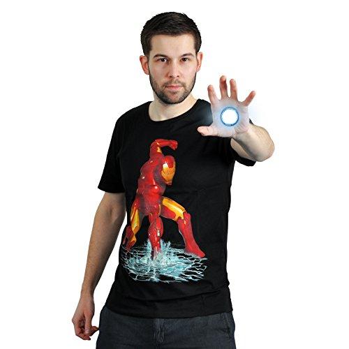 Iron Man - T-shirt Fist - maglietta con motivo del pugno su acqua - Super eroe della Marvel - Licenza ufficiale - Girocollo - Cotone - Nero - XL