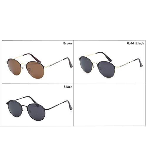 MISHUAI Herren Sonnenbrille Sonnenbrillen Herren Metallic Sonnenbrillen runder Kleiner Rahmen HD Driving Polaroids Casual Herren Sonnenbrillen Geeignet für jeden Anlass (Color : Gold Black)