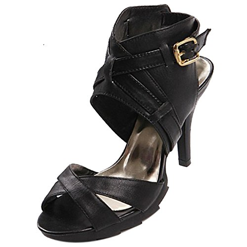 COOLCEPT Damen Mode Ankle Wrap Sandalen Open Toe Stiletto Slingback Schuhe Schwarz