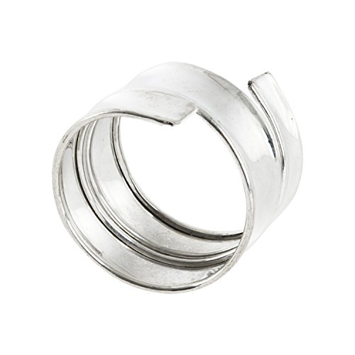 Saunders-Roe Lifestyle 4Band Design Serviette Ring Set, Silber