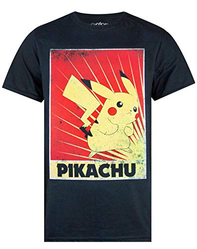 Pokemon Pikachu Propaganda Poster Men's T-Shirt Large
