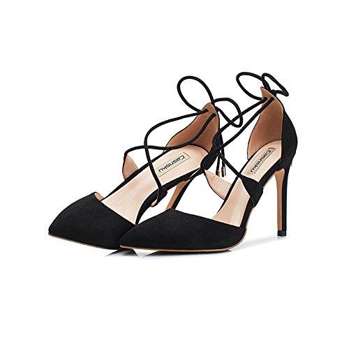 8,5 cm, 10,5 cm Schwarz Europa und die Vereinigten Staaten hohle Bankett spitzen High Heels, sexy goldenen Fuß Ring mit feinen Frauen einzelne Sandalen ( Farbe : Black10.5cm , größe : 34 )