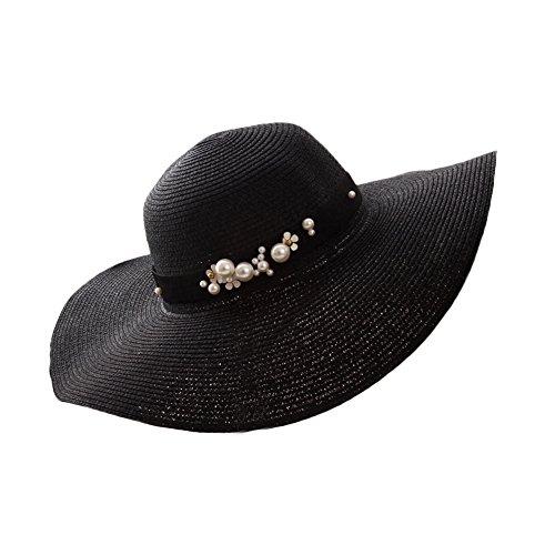 Leisial Schwarz Frauen Sommerhüte Große Krempe Strand Sonnenhut Faltbare Hut,56-58cm Schwarze Große Krempe Hut Frauen