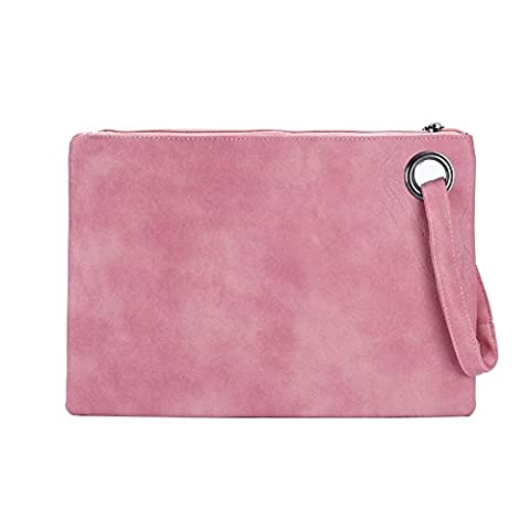 BEKILOLE Women`s Envelope Evening Clutch Bag PU Leather Handbag Purse-Light Pink