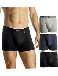 Boxer Homme, Lot de 3 ou 1, Coton Ultra Doux, Coupe Classique, Ajustement et Confort supérieur, caleçon Multipack, Noir, Gris, Bleu Marine