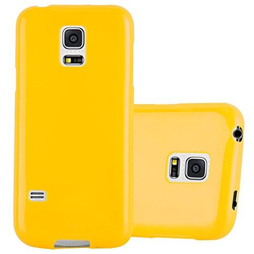 Cadorabo Hülle für Samsung Galaxy S5 Mini / S5 Mini DUOS - Hülle in Jelly GELB – Handyhülle aus TPU Silikon im Jelly Design - Silikonhülle Schutzhülle Ultra Slim Soft Back Cover Case Bumper