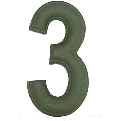 Numero Civico 3 Ceramica In Gres - Colore Verde Smeraldo Naturale cm11x6 h1,5