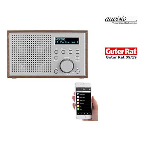 auvisio Internetradios: WLAN-Internetradio mit Holzdesign-Gehäuse, 2 Weckzeiten & App, 10 Watt (WiFi Radio)