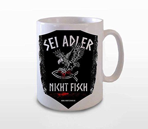 Sei Adler nicht Fisch Wikinger Walhalla Designer BÜROTASSE BUEROTASSE TASSE KAFFETASSE MUG Adler-kaffee-tasse