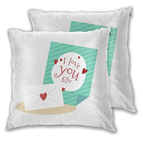 Einst Dekoratives Set von 2 Loveyou Love Lover Envelope Überwurfkissen Kissenbezug für Home Decor 18 x 18 Zoll 45 x 45 cm -