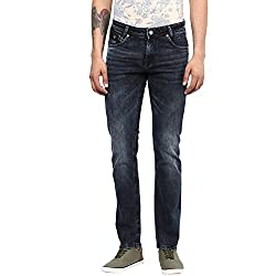 Mufti Mens Black SUPER SLIM FIT Mid Rise Jeans (36)